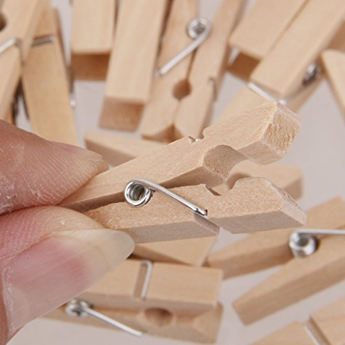 Clip Decorativas de Madera,Las Mini Clavijas de Fotos Blancas de Madera de Las Pinzas fijadas con la Primavera para Art Projects DIY Crafts 50pcs