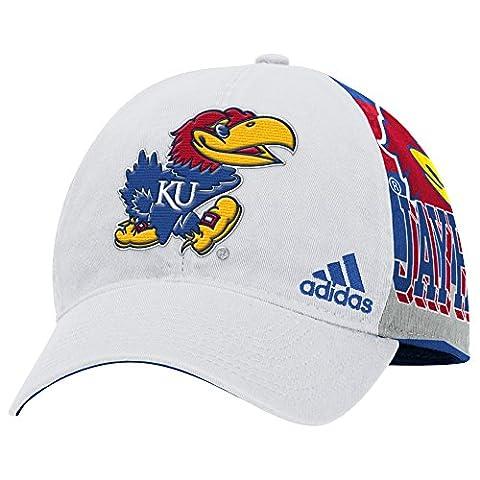 NCAA Kansas Jayhawks Men's Structured Adjustable Cap with Sublimated Print on Back Panels, One Size, White