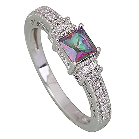 Hot Pink Rainbow Mystic Topaz silver jewelry wedding ring for