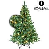 Excellent Trees Künstlicher Weihnachtsbaum Tannenbaum Christbaum Grün LED Stavanger Green 120 cm mit Beleuchtung, 160 Lämpchen Beleuchtet