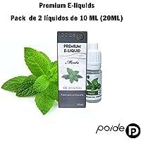 2 x 10ML Paide Premium E-Liquid - Sin nicotina - Líquido para cigarrillo electrónico - 50VG 50PG (Menta)
