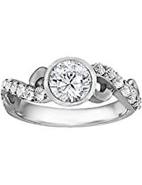 Silvernshine 1.17 Carat White Clear CZ Diamond 10k White Gold Over Wedding Ring