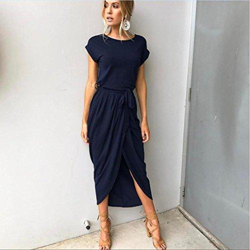 Kleid Transer® Damen Kleider TShirt Pyjama KnöchelLänge Schleife an der Taille  Hausfrau Outdoor Täglich Marine Grau Sundress GrSXL Marine