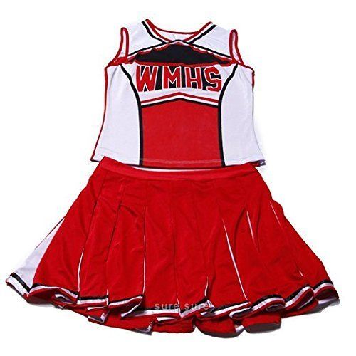 New Women's Red & White Glee Cheerleader Costume Outfit Fancy Dress Hen Night Halloween Size M 10 12 (Cheerleader-outfits Halloween)