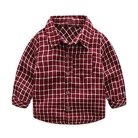 Fulltime(TM) 0-24 Months Fashion Baby Boy Wear Plaid Single-breasted Blouse Tops Shirt Kids Clothes (9 months, Red)