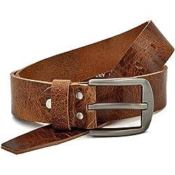 marrón Vintage Cinturón de piel de búfalo cuero 40 mm de ancho y aprox 3-4 mm de grueso, puede acortarse, cinturón, cinturón de piel, cinturón de traje, #Gbr00020 (waist size (Bundweite) 125cm)