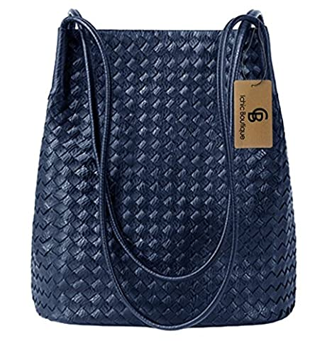 Bucket Bags Womens Leather Handbags Purse Woven Tote Hobo Shoulder Bags,Blue