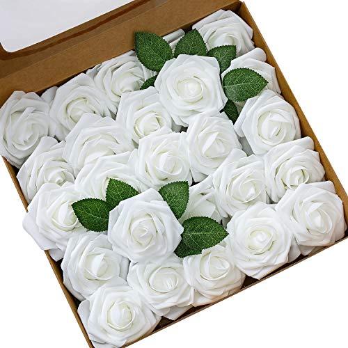 Ksnrang Künstliche Rosen Blumen Schaumrosen Foamrosen Kunstblumen Rosenköpfe Gefälschte Kunstrose Rose DIY Hochzeit Blumensträuße Braut Zuhause Dekoration (25 Stück, Weiß)