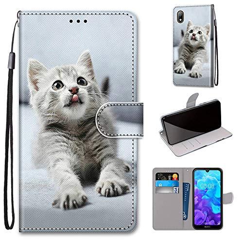Miagon Flip PU Leder Schutzhülle für Huawei Y5 2019,Bunt Muster Hülle Brieftasche Case Cover Ständer mit Kartenfächer Trageschlaufe,Grau Katze