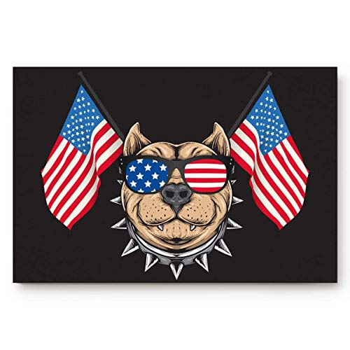Indoor Rutschfeste Fußmatte Eingangsbereich Wohnkultur Fußmatten Amerikanische Flagge Haustier Bulldogge mit Sonnenbrille Wasser absorbieren Low Profile Teppiche Bodenläufer Teppich Unabhängigkeitstag