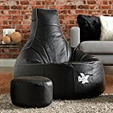 i-eX® Gaming Chair Faux Leather with FREE Matching Footstool - Man Size Gaming Bean Bag (Steel/Black)