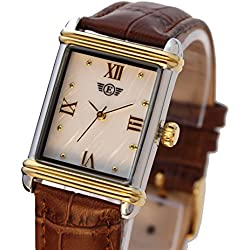 Ladies Dress Watch Rectangular Leather Strap PTT