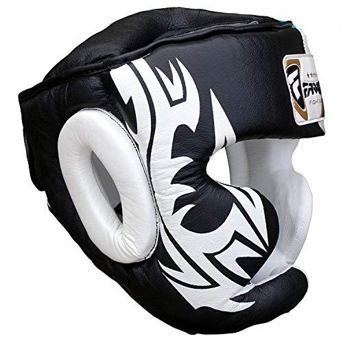 Boxing Kopfschutz Schutzhelm MMA Training Pro Full Face, Wange Schutz Echtes Leder Kopfbedeckung (S) -