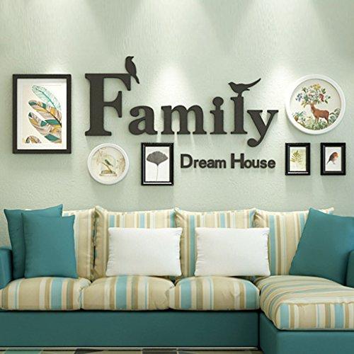 & Wandmontage Design Massivholz Bilderrahmen Wand, Kreative Portfolio Foto Wand Sets von 6 Sofa Hintergrund DIY Frames Sets ( Farbe : A , größe : 6frames/165*64cm )