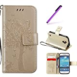EMAXELERS Galaxy S4 Mini Hülle Wishing Tree Schmetterling Muster PU Leder Wallet Flip Cover im Handytasche Etui Brieftasche mit Standfunktion für Samsung Galaxy S4 Mini,Gold Wishing Tree with Diamond