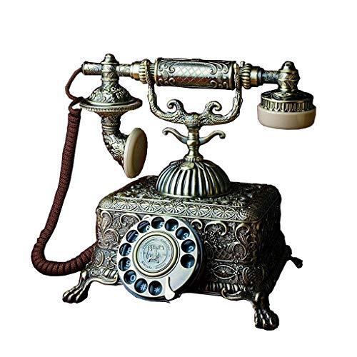 MVW Telephone-Royal Klassische Legierung Antik Telefon König Bar Handwerk Möbel Vintage Fixed-Line Turntable Telefon Willkommen (Farbe: Drehschalter Version)
