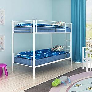 DU Children's Bunk Bed Frame 200x90 cm Metal White|Free Shipping UK|