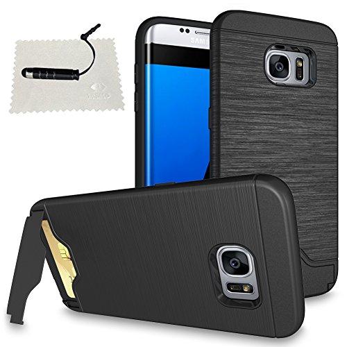 Samsung S7 Edge Hülle, Galaxy S7 Edge Hülle, Wallet Case Galaxy S7 Edge Hart Case Galaxy S7 Edge Tasche PC Galaxy S7 Edge Cover Handyhülle imCard [1 Kartensteckplatz] schwarzer Stift -Schwarz