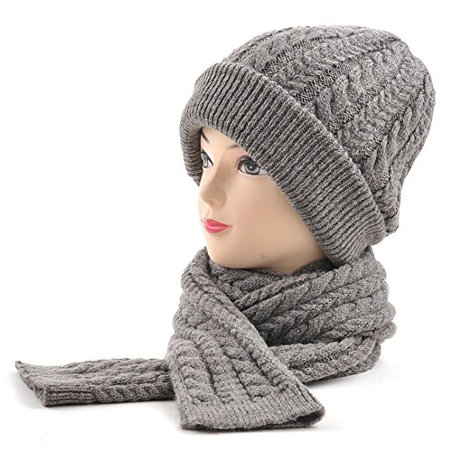 Due pezzi di autunno caldo inverno set sciarpa cappello/ ispessito orecchio-lana cappello/Cappello lavorato a maglia-B Unica