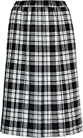 "Womens Pleated Skirt Tartan Check Ladies 27"" Box Pleated Elasticated Waist Waistband Skirts 27"" length knee length"