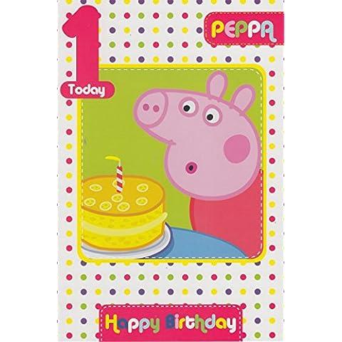 Peppa Pig Edad 1 tarjeta de cumpleaños