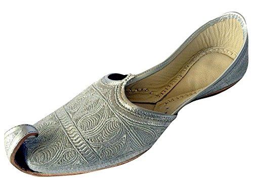 Schritt N Style Herren 's Flaches Full Silber Zari Khussa Schuhe Traditionelle indische Leder Slipper Panjabi jutti, Silber - silber - Größe: 41 1/3 (Mokassin-schuhe Die Indische)