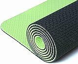 Iuga - Tappetino antiscivolo per yoga, con sacca e laccetto per il trasporto, materiale TPE ecocompatibile e certificazione SGS, inodore, resistente e leggero, design con due colori, spessore 6mm, Green