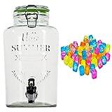 esto24® Hochwertiger Getränkespender aus Glas mit Schriftzug 3 Liter mit Zapfhahn Glasdeckel inkl. 20 Eiswürfel