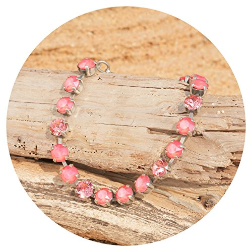 Romantische Rose Peach (artjany Armband Swarovski Kristalle light coral mix)