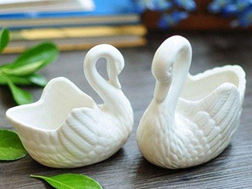 2 Stück 4 Zoll Weiß Bonsai Töpfe, Mini Keramik Sukkulenten Pflanze Blumentöpfe - Packung mit 2 (Schwan) (4 Pflanzen Zoll Keramik-töpfe Für Die)