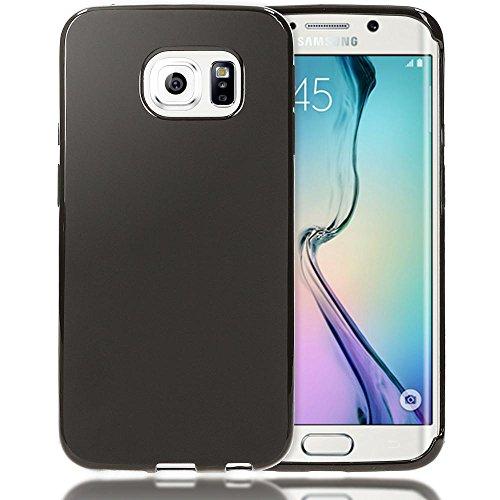 Samsung Galaxy S6 Edge Hülle Handyhülle von NICA, Ultra-Slim Silikon Case, Dünne Crystal Schutzhülle, Etui Handy-Tasche Back-Cover Bumper, TPU Gummihülle für Samsung-S6 Edge - Transparent / Türkis Matt Schwarz