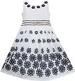 Mädchen Kleid Schwarz Weiß Blume Elegant Prinzessin