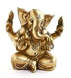 Indische Gottheit Ganesha - Statue Messing Sitzend 14.5 cm