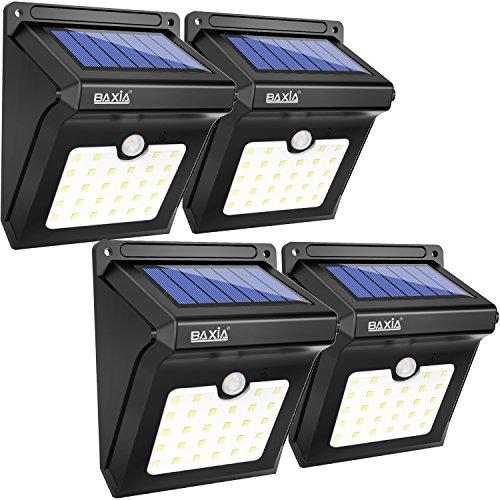 28 LED BAXiA, Luces de Exterior con Sensor de Seguridad por Movimiento Inalámbricas y con Batería Solar para Muros Exteriores, Jardines, Patios y Terrazas (precio: 38,99€)
