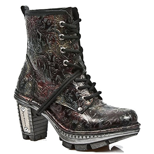 New Rock Damen Neotrail Schwarz Smart Gothic Rock Punk Leder SchnŸrstiefel in Plain & Floral Patterned Leder Rot Blume