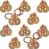 Boao 10 Sets Chinesische Glücksmünzen Feng Shui Münzen I-Ching Münzen Traditionelle Münzen mit Roter Schnur für Reichtum und Erfolg, 5 Arten