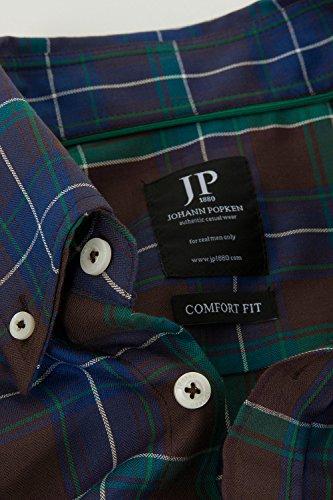 JP 1880 Herren große Größen Karohemd 700979 Dunkelgrün