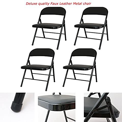 FAUX LEATHER PADDED METAL STRONG FOLDING FRAME OFFICE COMPUTER BACK REST CHAIR (SET OF 4 X CHAIRS)