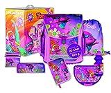 Dreamworks TROLLS umfangreiches Mädchen Schulranzen-Set, Schulanfänger Set, Grundschulranzen-Set inkl.Glitter-Glue, Gelschreiber und True Color Marker