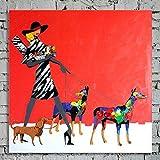 TTKX@ Handgemachte Abstrakte Abbildung Rot Ölgemälde auf Segeltuch Moderne Wohnkultur Handgemalte Große Wandmalerei Kunst Frauen & Hunde Bilder,50X50Cm