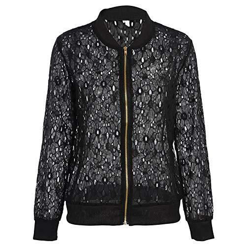 Frauen-beiläufige Herbst-Mantel, Spitze O-Ansatz Reißverschluss-Frontseiten-offene Wolljacke-Lange Hülsen-Blusen-Jacke(L-Schwarz)