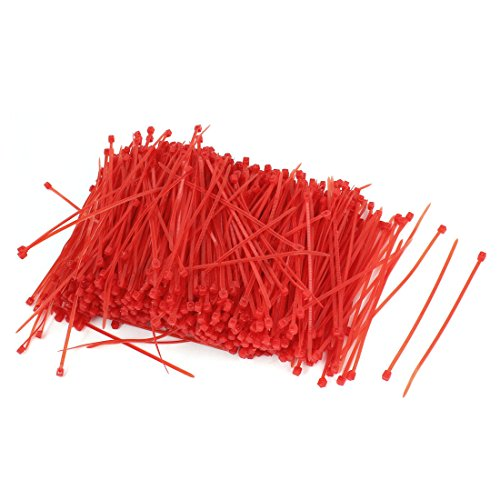 sourcing map 1000pcs 3 mm x 100 mm, Nylon, selbstklebend, Design Electric Wire Cord Locking Kabelbinder, Rot de