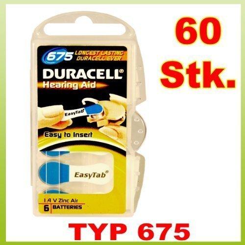 Galleria fotografica 60 x Tipo 675 - DURACELL 675 Hearing Aid EasyTab - Pile per apparecchi acustici - confezione da 60 (10 x 6)