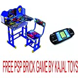 DURABLE KING Kids Learning Education New Wooden Study Table And Chair With Height Adjustable For Kids/Best For Study FREE PSO BRICK GAME BY KAJAL TOYS