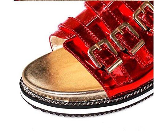 Weibliche Sandalen 43 Blicke Ferien Beiläufige Kühle schuhe Red Größe Europa Spezielle Rote Flache Silberne Sommer Beauqueen 32 Und Frauen Frühling 8UwnqdR
