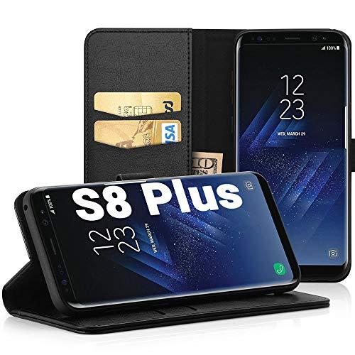 EasyAcc Hülle Case für Samsung Galaxy S8 Plus, Lederhülle PU Leder Tasche Klappbar Schutzhülle Handyhülle mit [Ständer Funktion] Card Holder Cover Kompatibel mit Samsung Galaxy S8 Plus - Schwarz -