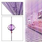 HTOYES Cortina de hilos con cuentas decorativas de, para puertas, pared, ventanas, divisor de habitaciones, cafeterías, etc (PúRpura)