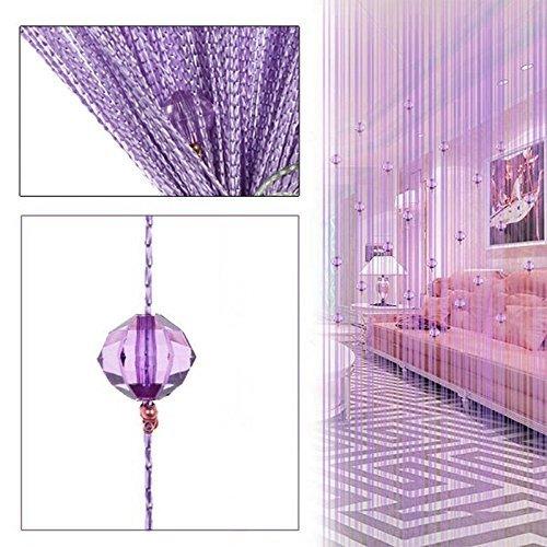 HTOYES Dekorativer Fadenvorhang mit Perlen, Wandvorhang, Schaufensterdekoration, Raumteiler, für Hochzeit, Café, Restaurant, mit Kristallquaste, Innendekoration (Violett) (Stoff-perlen)
