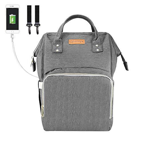 Openuye baby wickelrucksack, große Wickeltasche mit USB-Ladeanschluss und Kinderwagenhaken, Freisprechrucksack für unterwegs(Grau)
