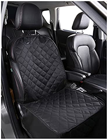 Alfheim Dog Car Seat Cover Nonslip Rubber Backing with Anchor And An Adjustable Pet Dog Car Seat Belt, for All Cars, Trucks & SUVs, Black (For Front